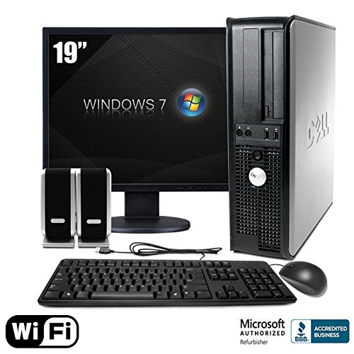 "Dell 755 Desktop Computer Package With Wifi Intel Core 2 Duo, 2Gb Memory, 80Gb Hard Drive, 19"" Lcd Monitor, Keyboard, Mouse, And Speakers"