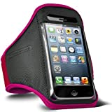 Direct-2-Your-Door - Apple Iphone 4S Sports Armband Strap Pouch Case Cover - Hot Pink