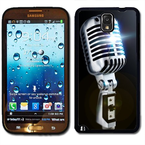 Samsung Galaxy Note 3 Black Rubber Silicone Case - Old School Microphone 50'S Style Retro Mic