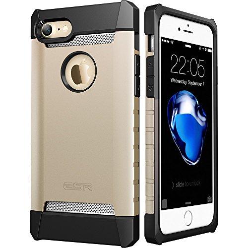 iPhone7 plusケース アイフォン7プラスケース,ESRR シリコン ハード耐衝撃ケース アルミ/TPU/PC三つ重構造 滑り防止 iPhone7 plus バンパー (ゴールド)