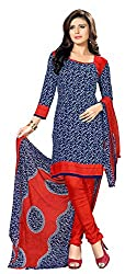 Ethnic For You Crepe Unstitched Salwar Suit Dress Materials(Navy Blue,Multi)