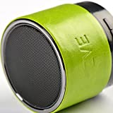 ZVE Leather Mini Portable Wireless Bluetooth Speaker with Subwoofer Build-in Microphone Rechargeable Battery Stereo Sound Speakphone (Green)