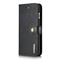 iPhone 6s plus case, Moyooo iPhone6 plus Genuine Leather Wallet Case Detachable Magnetic Back Cover Case For iPhone 6s/6 plus (iphone6s/6 plus, Black)