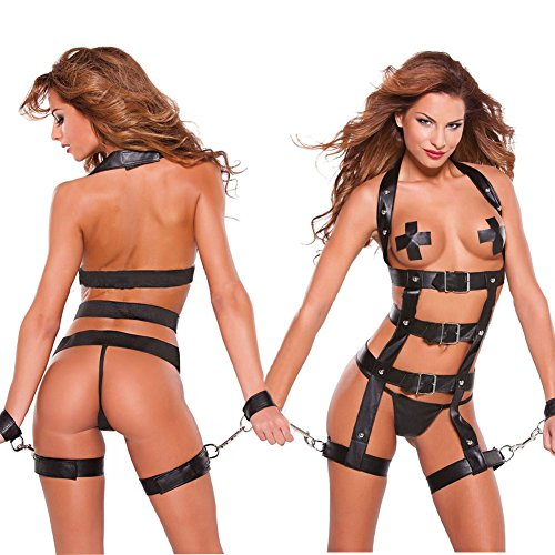 Nikki's Dressing Room® Role Play Women Prisoner Faux Leather and Chain Restraint Set (Hot Sexy Cosplay)