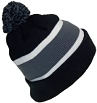 Best Winter Hats Quality Cuffed Hat with Large Pom Pom (One Size)(Fits Large Heads) (Black/DarkGray)