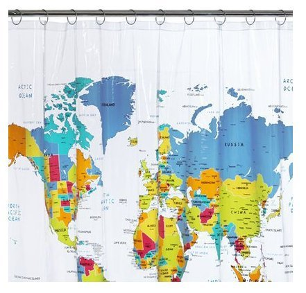 Vintage map shower curtain images world map shower curtain gumiabroncs Image collections