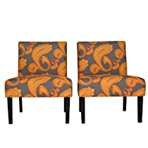 Big Sale angelo:HOME Bradstreet Desert Sunset Brown Paisley Armless Chair, Set of 2