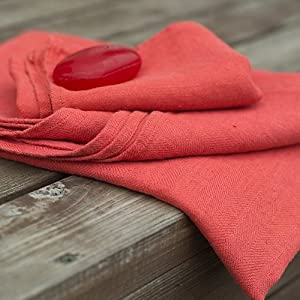 LinenMe Linen Lara Hand and Guest Towels, 12 by 20-Inch, Orange, Set of 2