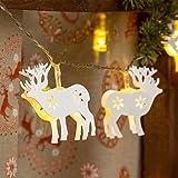 Guirnalda con 10 renos blancos metálicos, 1,35 m, a pilas, LED luz cálida, cableado transparente, renos luminosos, decoración de Navidad, luces navideñas a pilas