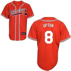 Justin Upton Atlanta Braves Replica Red Alternate Jersey by Majestic by Majestic