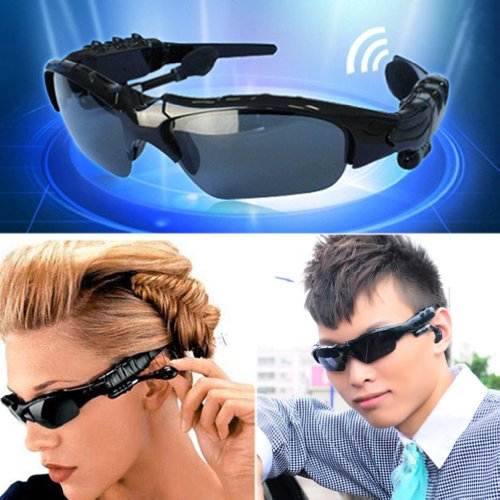 RioRand Wireless Bluetooth Sunglasses Headset Headphones For iPhone Samsung HTC Nokia (Black)