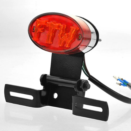 1X Custom Ftw Design 25 Red Eagle Eye Led Integrated Tail Brake Stop License Plate Light Lamp With Black Metal Bracket Holder Universal For Softail Sportster Vrsc Dyna Glide