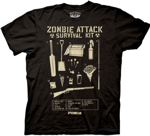 Mens Shaun of the Dead Zombie Survival Attack