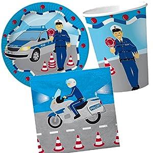 37 tlg party set polizei mit pappteller servietten. Black Bedroom Furniture Sets. Home Design Ideas