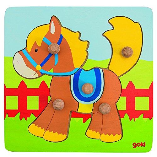 Goki - Puzzle encaje con caballo, 5 piezas, de madera (Gollnest & Kiesel 57555.0)