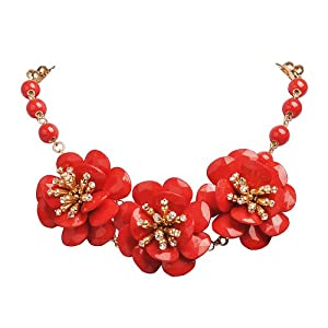 Jane Stone Red Flower Cluster Necklace Resin Chunky Statement Frontal Necklace(Fn1169)
