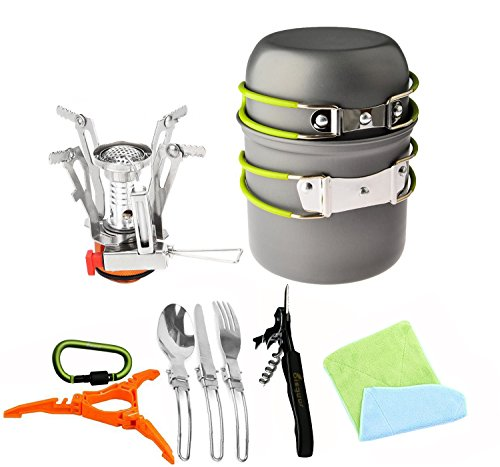 12pcs Camping Cookware Stove Canister Stand Tripod Folding Spork Set Bisgear(TM) Outdoor Camping Hiking Backpacking Non-stick Cooking Non-stick Picnic Knife Spoon Bottle Opener