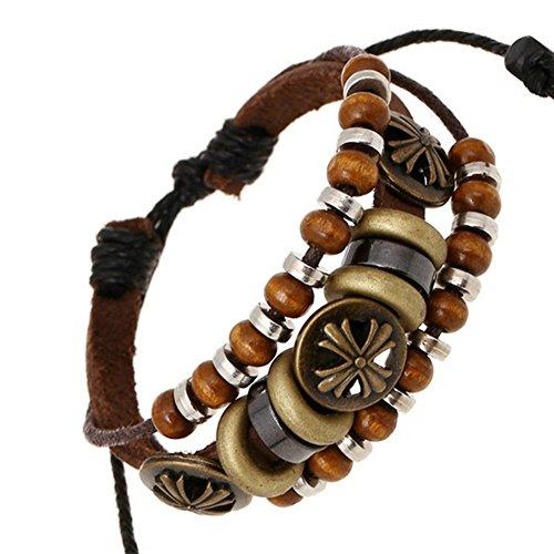 Goloy Punk Fashion Multi-Strand Cord Leather Manual Wood Beads Adjustable Length Bracelet