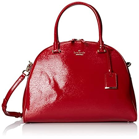 Textured patent leather lends glossy glamour to this dome-shaped Kate Spade New York satchel. Gold-tone logo letters accent the front, and a tiny card pocket trims the back. Two-way zips open the top, and the lined interior contains 3 pockets. Rolled...