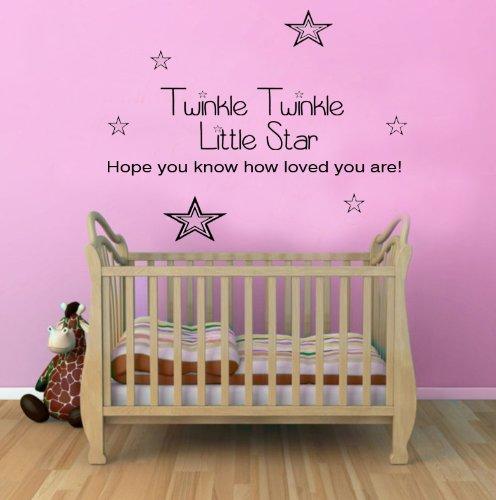 Twinkle Twinkle Little Star Nursery Wall Sticker Quote Childrens Bedroom T2 Ck 100X55 front-436033