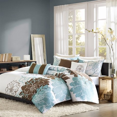Madison Park Lola 6 Piece Printed Duvet Set - Blue/Brown - King