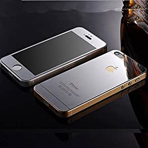 ScratchfreeLook Electroplated Mirror Finish Glossy Brushed Metal Effect Silver Coloured Front & Back Tempered Glass For Apple iPhone 5,5S,5G