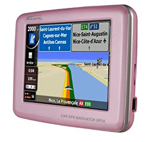 takara gp gps sat nav europe map route planner 9 cm poi pink design electronics. Black Bedroom Furniture Sets. Home Design Ideas
