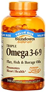 Sundown Naturals Triple Omega 3 - 6 - 9, 200 Softgels