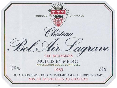 1985 Chateau Bel Air Lagrave Moulis Bordeaux 750 Ml