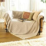 Large Natural Beige Sofa Throw