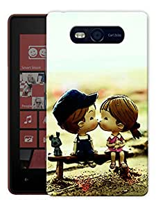 "Humor Gang Cute Couple Kissing Cartoon Printed Designer Mobile Back Cover For ""Nokia Lumia 820"" (3D, Matte, Premium Quality Snap On Case)"