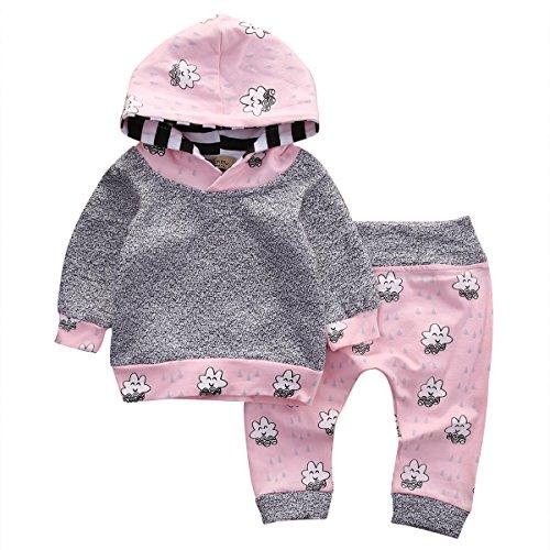 Baby Girl 2pcs Set Outfit Warm Gray Hoodies+Cloud Print Pink Long Pants Suit (18-24months, Pink)