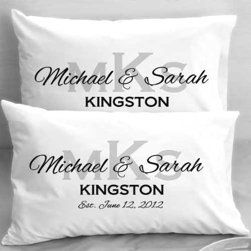 Monogram Wedding Pillowcases, Elegant Initials, Engagement or Anniversary Gifts (Custom Name Pillowcase compare prices)