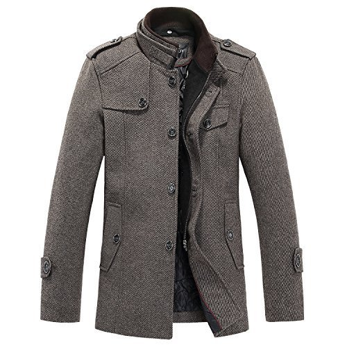 Sulandy@ Mens Winter Warm Soft Wool Blend Pea Coats Slim Fit xxl coffee (Coffee-thick, Us Large(tag Xx-large)) by sulandy
