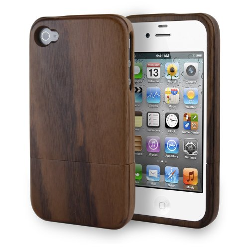 MagicMobile Ultra Slim Handmade Wooden Bamboo Cover for iPhone 4/4S - Dark Wood (Iphone 4 Wood Cover compare prices)
