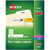 Avery File Folder Labels for Laser and Ink Jet Printers with TrueBlock Technology, 3.4375 x .66 inches, White, Box of 1500 (5366)