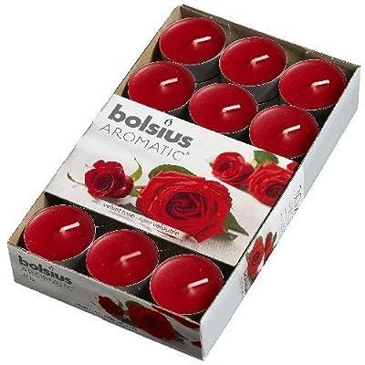 Bolsius Aromatic Scented Tea Lights 30 Pack - Velvet Rose - 103626944481 from Bolsius