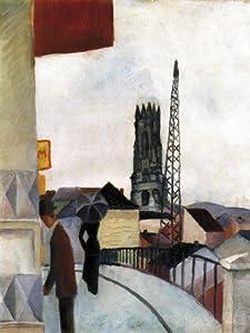 Geschenkset: 1 Poster Kunstdruck (80x60 cm) + 1 Mauspad (23x19 cm) - August Macke, Kathedrale Zu Freiburg In Der Schweiz, 1914