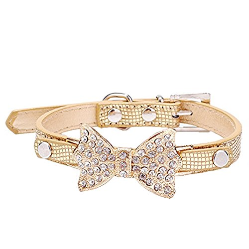 Cute PetBling Rhinestone Pet Cat Dog Bow Tie Collar Necklace Jewelry for Small or Medium Dogs Cats Pets Female Puppies Chihuahua Yorkie Girl Costume Outfits, Light and Adjustble Buckle Golden XS (Lilly Bow Ties compare prices)