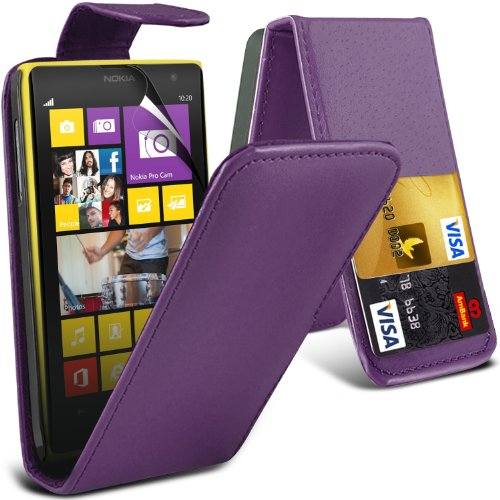 ( Purple ) Nokia Lumia 1020 Premium Faux Credit / Debit Card Slot Leather Flip Skin Case Cover & Lcd Screen Protector Guard By Fone-Case