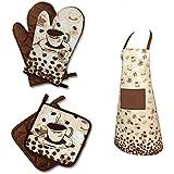 """Originelle Serie """" COFFEE TIME """" Farbe : Braun - wunderschönes Kaffee - Haus - Motiv - zur Auswahl : Topflappen oder Backhandschuhe oder Küchen - Schürze , wunderschönes Motiv - hochwertig , 100% Baumwolle , eine schöne kleine Geschenk - Idee - NEU (1 Paar ( = 2 Stück ) = Topflappen ca. 18 cm x 18 cm)"""