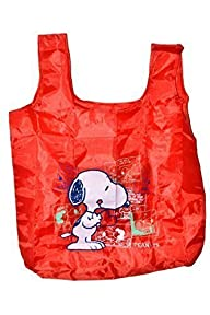 Peanuts Snoopy Reusable Nylon Bag 20″ In Storage Pouch. Red.
