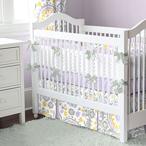 Carousel Designs Lilac Suzani Crib Bumper With Ruffle back-320875