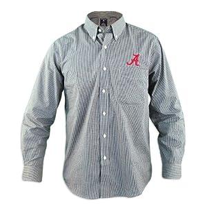 Alabama Crimson Tide Focus Black Buttondown Long Sleeve Shirt by Antigua