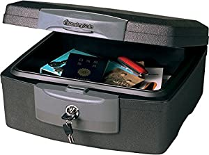 SentrySafe F2300 Fire-Safe Waterproof Chest with Tubular Key, 33lbs, .36 Cu. Ft., Charcoal