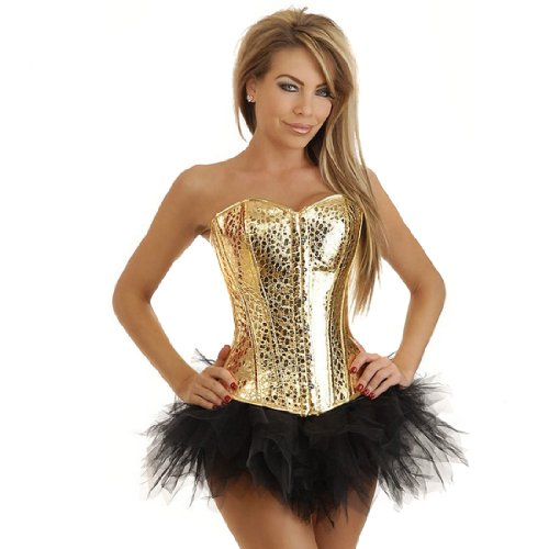 Ecosco Strapless Leopard Dots Overbust Corset,Halloween Christmas Costume W/Tutu (M, Gold) front-90794