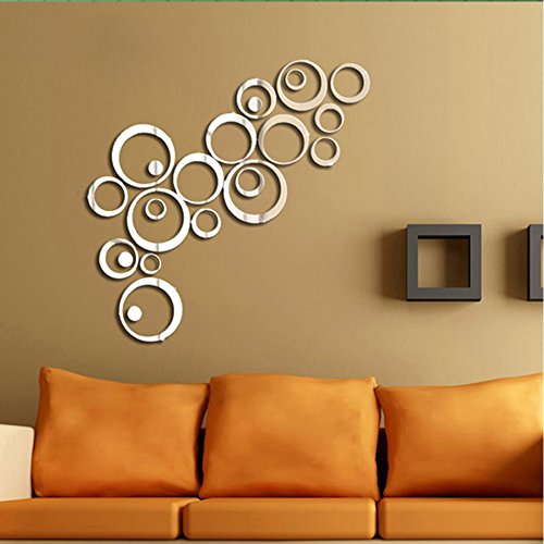 Moderno adesivo da parete effetto specchio con panno in microfibra, motivo cerchi (argento o nero) argento