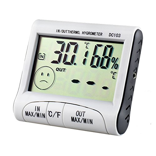 Tera Indoor and Outdoor Digital Thermometer Hygrometer Temperature and Humidity Monitor Gauge with Detector and MIN/MAX Records White