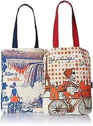 Kanvas Katha Women's Combo Tote Bag (Pack of 2) (Off-White) (KKCAMZOCT009-KKCAMZOCT010)