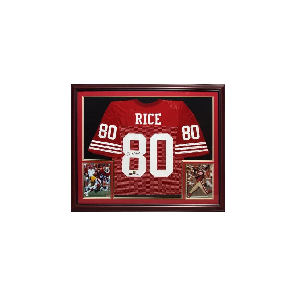 Jerry Rice Autographed San Francisco 49ers (Red #80) Deluxe Framed Jersey